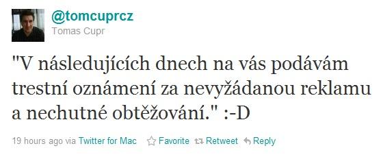 Twitter Tomáše Čupra a žaloba kvůli jednomu emailu. :)