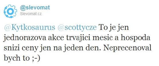 Příspěvek na Twitteru - Slevomat.cz